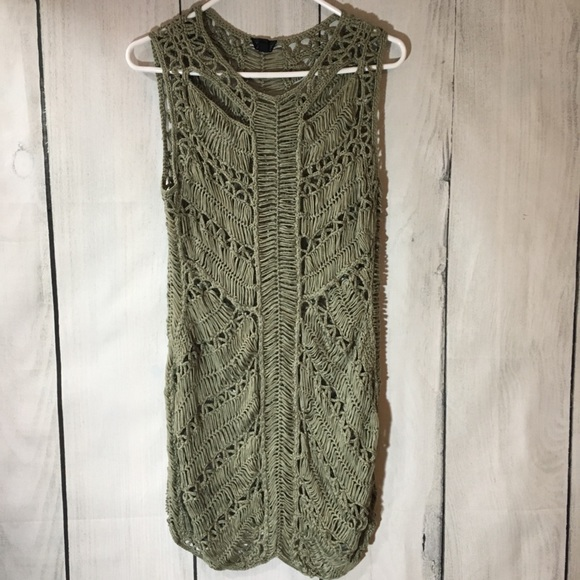 Topshop Dresses & Skirts - Topshop Olive Green Macrame Open Knit Dress